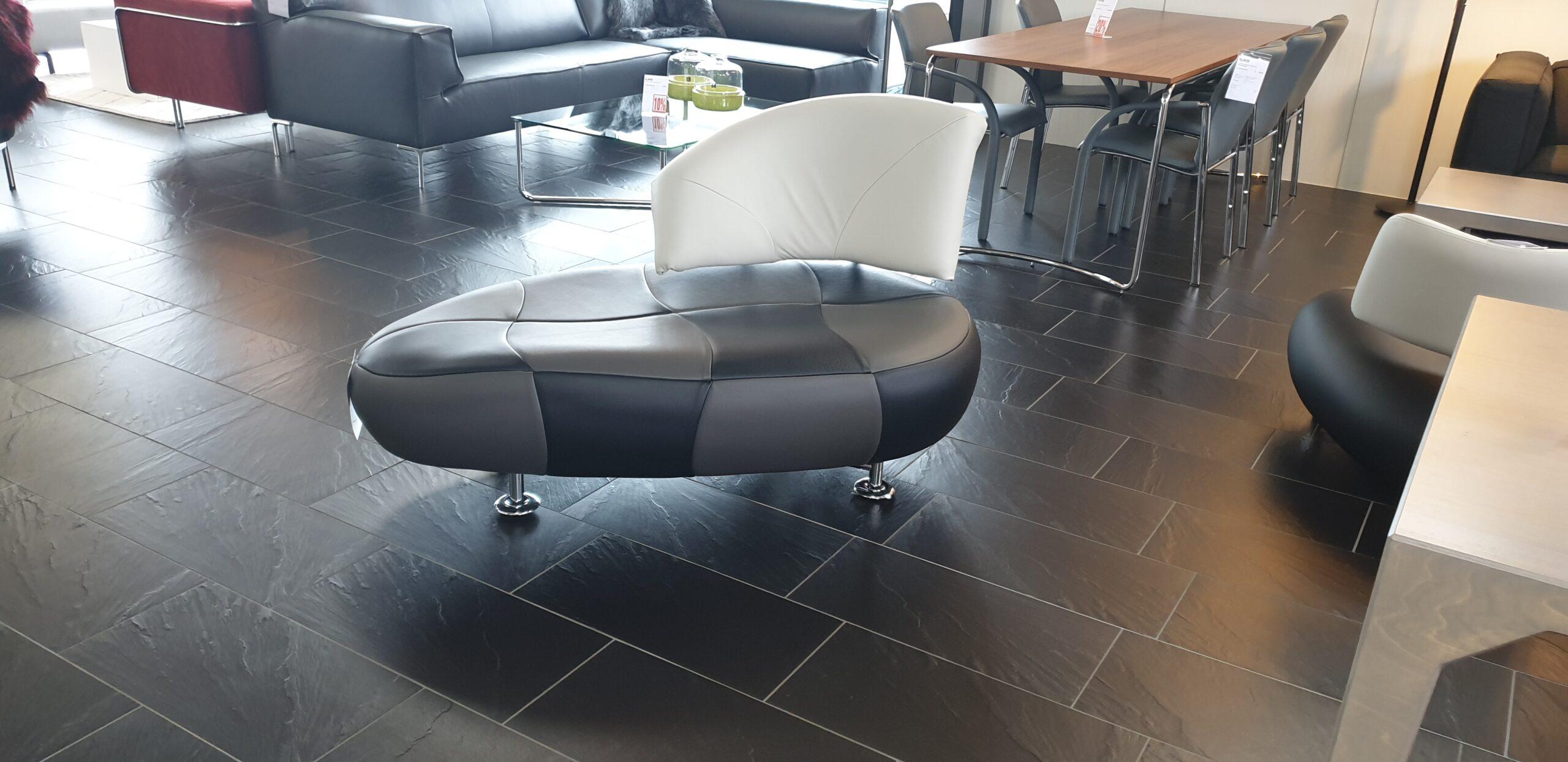 Leolux Kikko zwart grijs wit leer fauteuil  - Refurbished