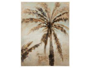 Schilderij Palmboom Canvas/Hout Bruin (14027)